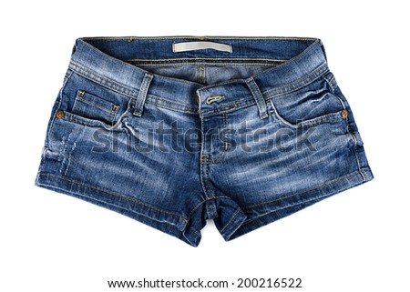 Blue female jean shorts on a white background - stock photo