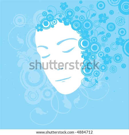 Blue female portrait (vector format also available in my gallery)