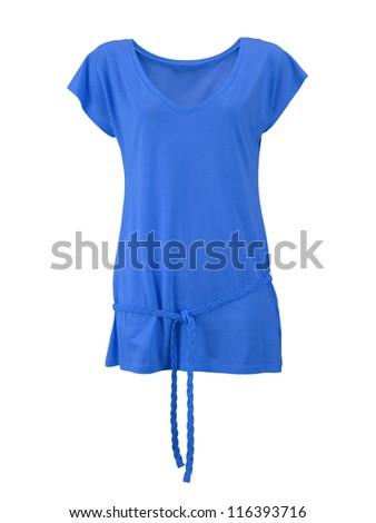 blue female shirt isolated on white background - stock photo