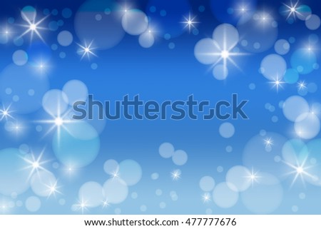 Blue festive background with bokeh and glowing lights. New Year. Winter. Celebration.