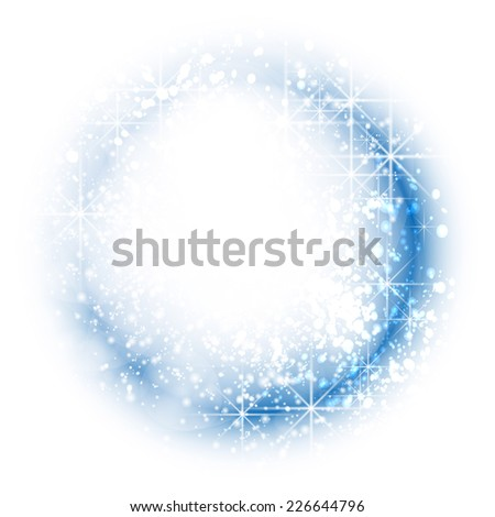 Blue festive Christmas background. Elegant abstract background with bokeh defocused lights and stars. - stock photo