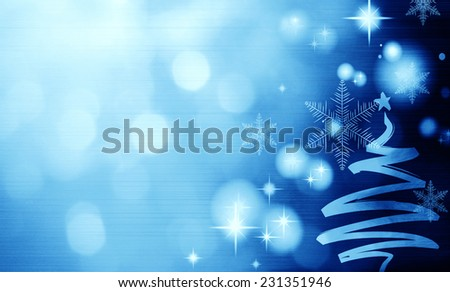 Blue  Festive Christmas background with Christmas tree. Elegant abstract background with bokeh defocused lights and stars - stock photo