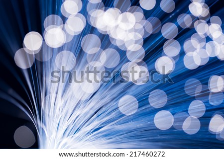 Blue fiber optics - stock photo