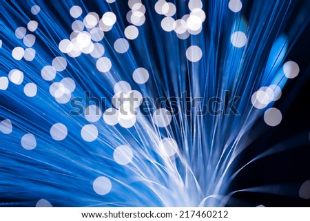 Blue fibre optic cable  - stock photo