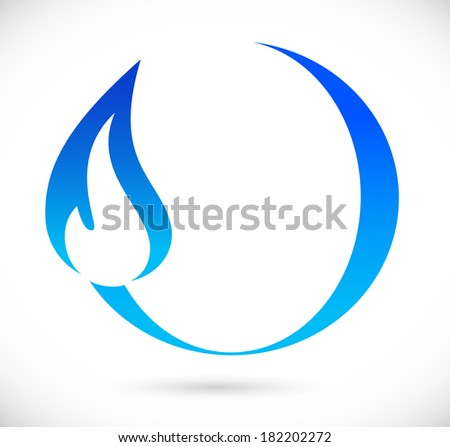 Blue fire icon - stock photo