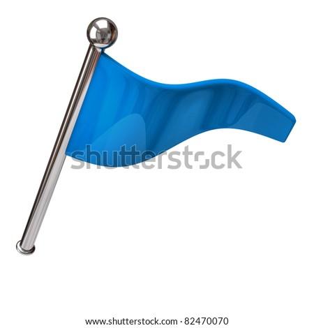 Blue flag isolated on white background - stock photo