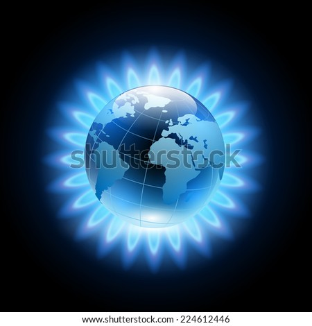 blue flame around the planet earth - stock photo