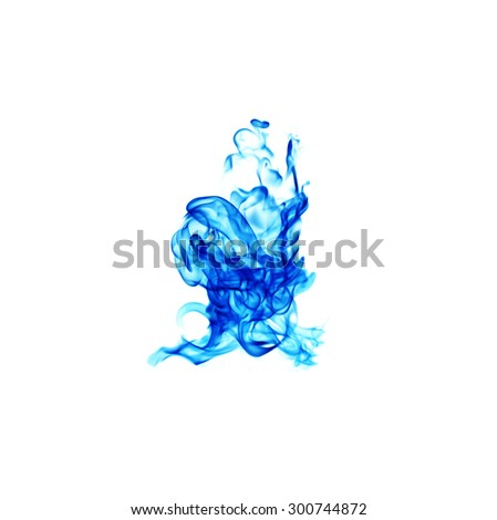 blue flames isolated on white background - stock photo