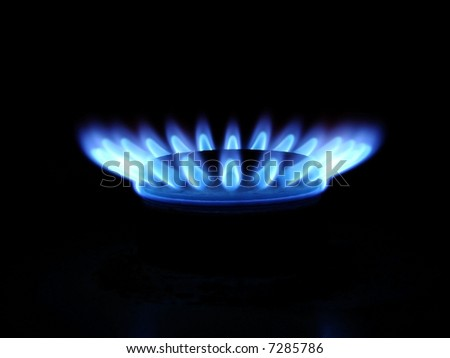 Blue flames of gas stove in the dark - stock photo