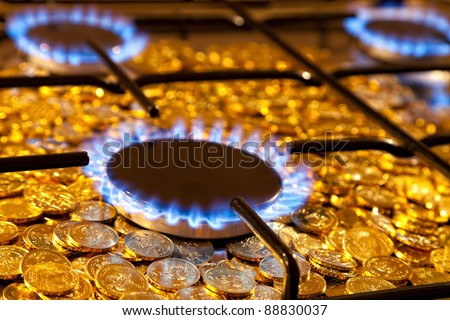 Blue flames of natural gas burning from a gas stove on a background of the coins. - stock photo