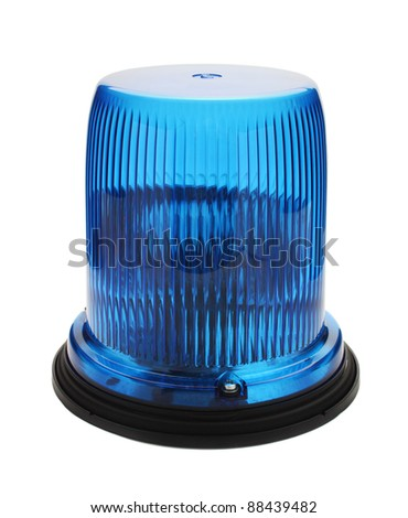 Blue flashing beacon isolated on white. - stock photo