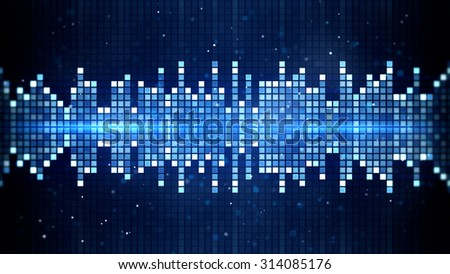 blue flashing squares equalizer. Computer generated party background