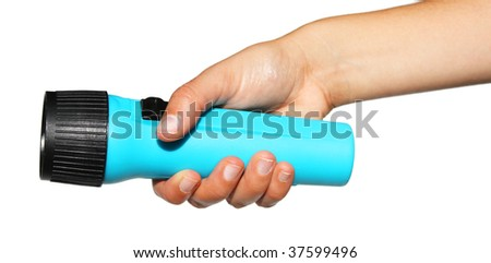 blue flashlight in hand on a white background - stock photo