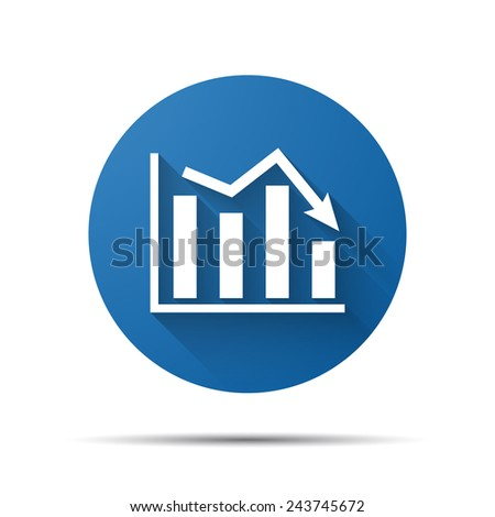 blue flat icon of graph going down - stock photo