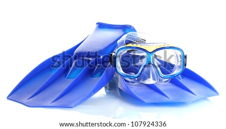 blue flippers and mask isolated on white