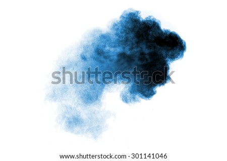 blue  flour smoke on white background