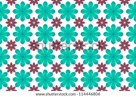 Blue flower pattern background - stock photo