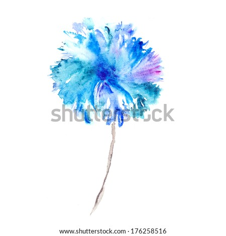 Blue flower. Watercolor floral illustration. Floral decorative element. Floral background. - stock photo
