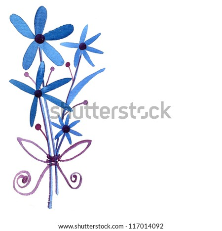 Blue Flowers isolated on white - stock photo
