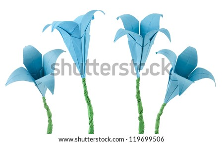 Blue Flowers origami white isolated. Paper made flowers. - stock photo
