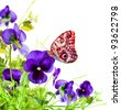Blue flowers violet with red butterfly on white  background - stock photo