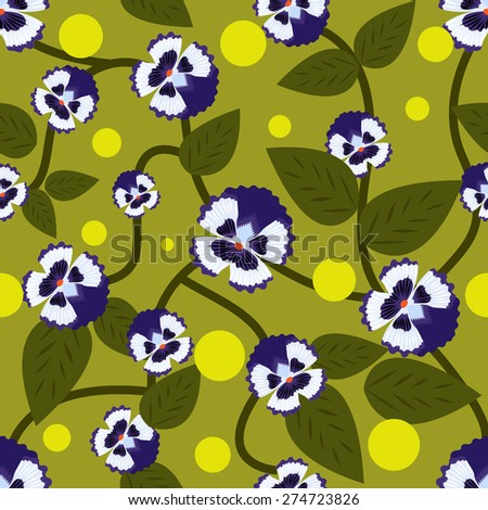 Blue flowers with green leaves seamless pattern.	 - stock photo