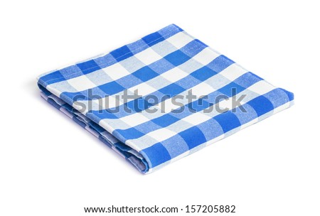 blue folded tablecloth isolated - stock photo