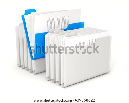 Blue folder in a row isolated on white. 3D illustration - stock photo