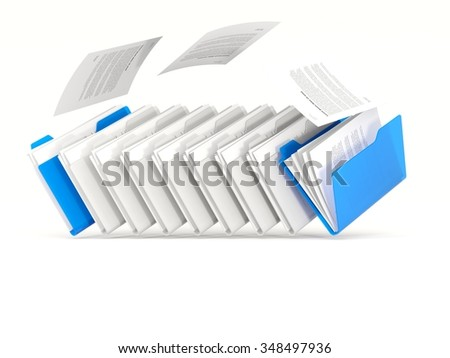 Blue folders in a row isolated on white