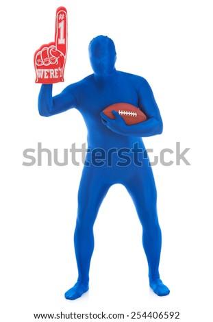 Blue: Football Fan with Foam Finger - stock photo