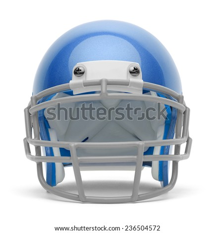 Blue Football Helmet Front View with Copy Space Isolated on White Background. - stock photo