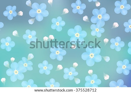 blue forget-me-not flowers on blur background- illustration - stock photo