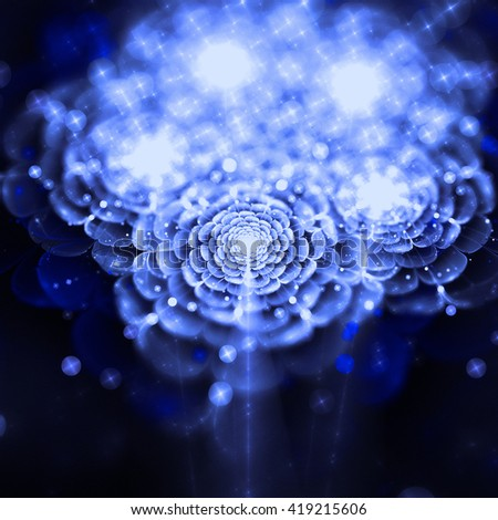 blue fractal flower background