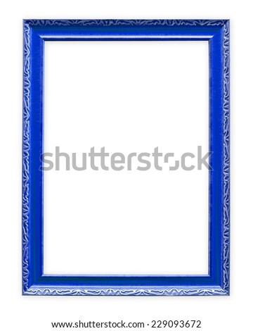 Blue frame isolated on white background - stock photo