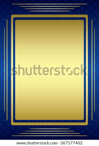 blue frame with golden decor - stock photo