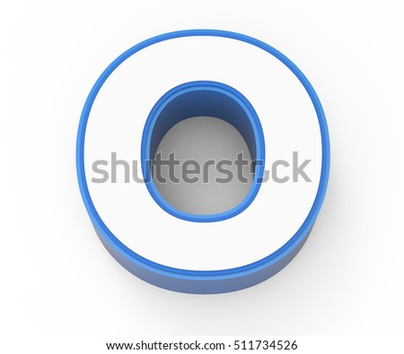 blue framed white letter O, 3D rendering graphic isolated on white background