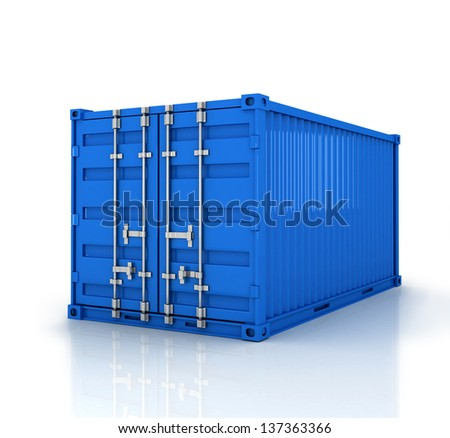 Blue freight container isolated on white - stock photo