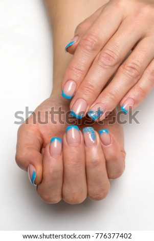 Blue French Manicure With Flowers And Crystals On Short Square Nails