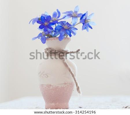 blue fresh snowdrops in vase - stock photo
