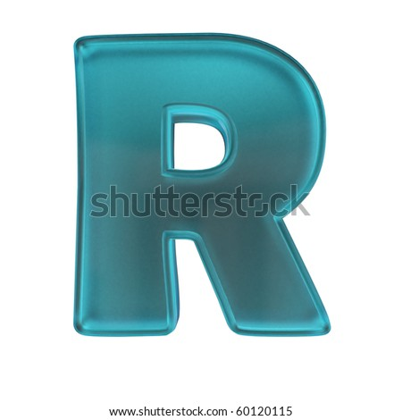 blue frost glass alphabet letter R isolated on white with alpha