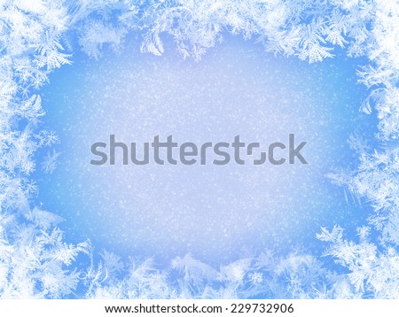 blue frozen window glass for your background. See my portfolio sets for more winter backgrounds - stock photo