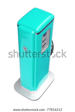Blue fuel pump isolated over white background. Top side view - stock photo