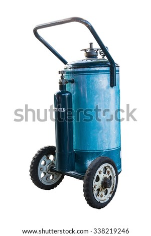 blue fuel tank with wheel isolate on white background - stock photo