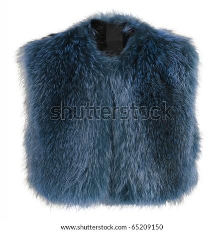 blue fur coat - stock photo