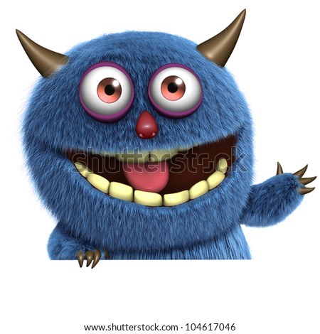 blue furry  monster - stock photo