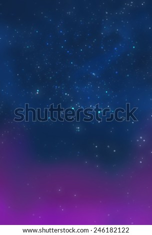 Blue Galaxy with Less Pink - Illustration for children - stock photo