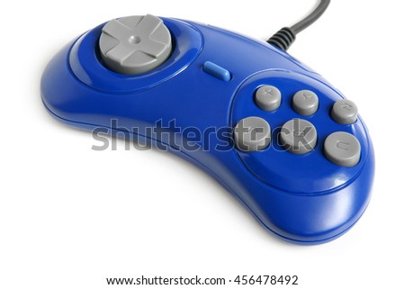 Blue game controller on a white background - stock photo