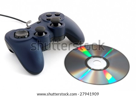 Blue Game Pad and a CD - stock photo