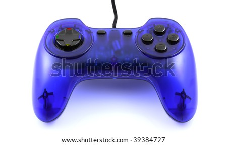 Blue gamepad isolated on white background - close-up view. - stock photo