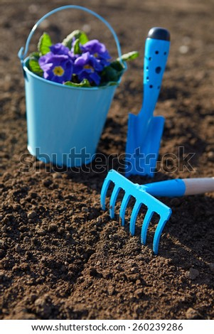 Blue garden tools during the spring planting - stock photo